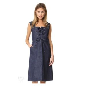 See By Chloe | Sleeveless Lace Up Denim Midi Dress